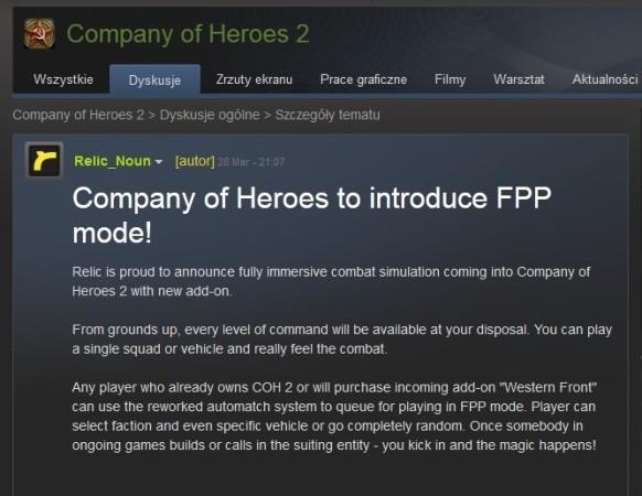 COH 2 - FPP steam announcement