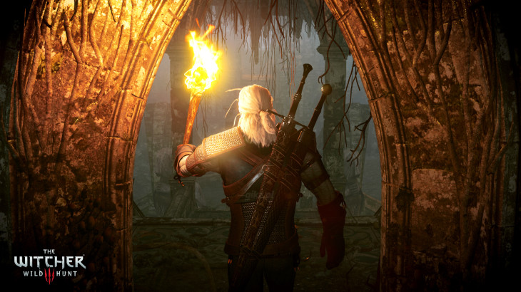 The_Witcher_3_Wild_Hunt_Geralt_exploring_an_underground_crypt