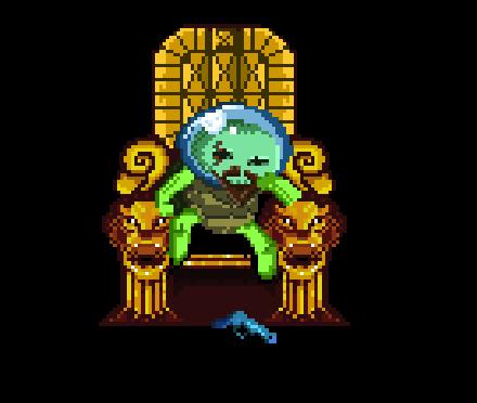Stary szpakowaty super kosmiczny żółw siedzący na złotym tronie
